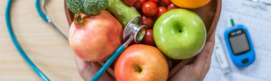 fruit, stethoscope and blood glucose meter used in ENDiabetes diabetes prevention program