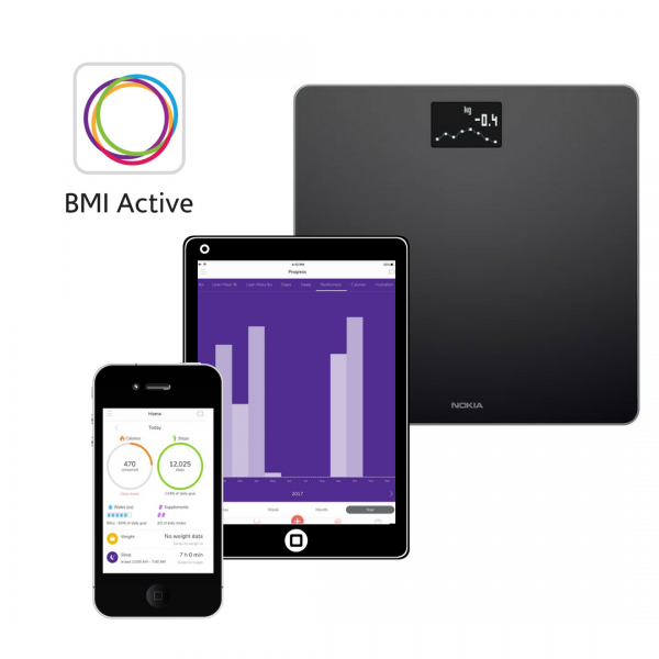 BMI Active smart scales, iPhone, iPad, Android app for weight loss with gastric balloon or endoscopic sleeve or weight loss surgery.